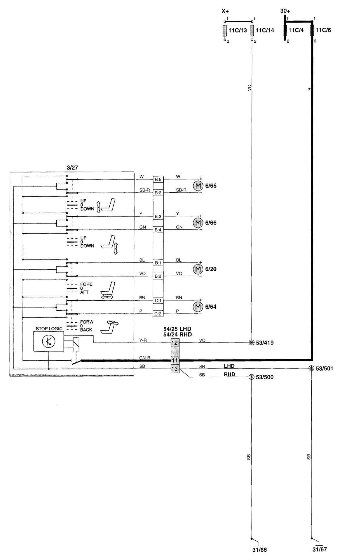 Volvo V70 Window Wiring Diagram : Volvo v  wiring diagrams power seat