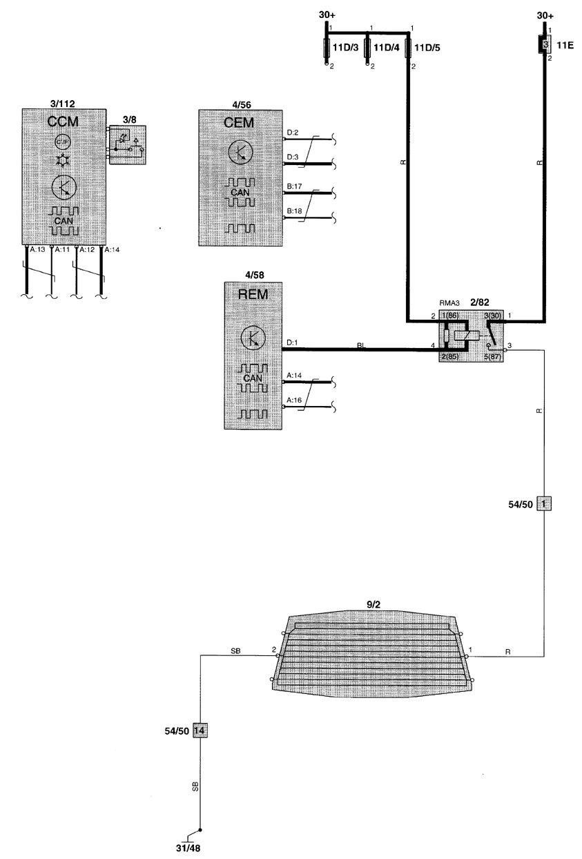 Volvo V70 (2001 - 2002) - wiring diagrams - rear window defogger -  Carknowledge.info | Volvo V70 Window Wiring Diagram |  | Carknowledge.info