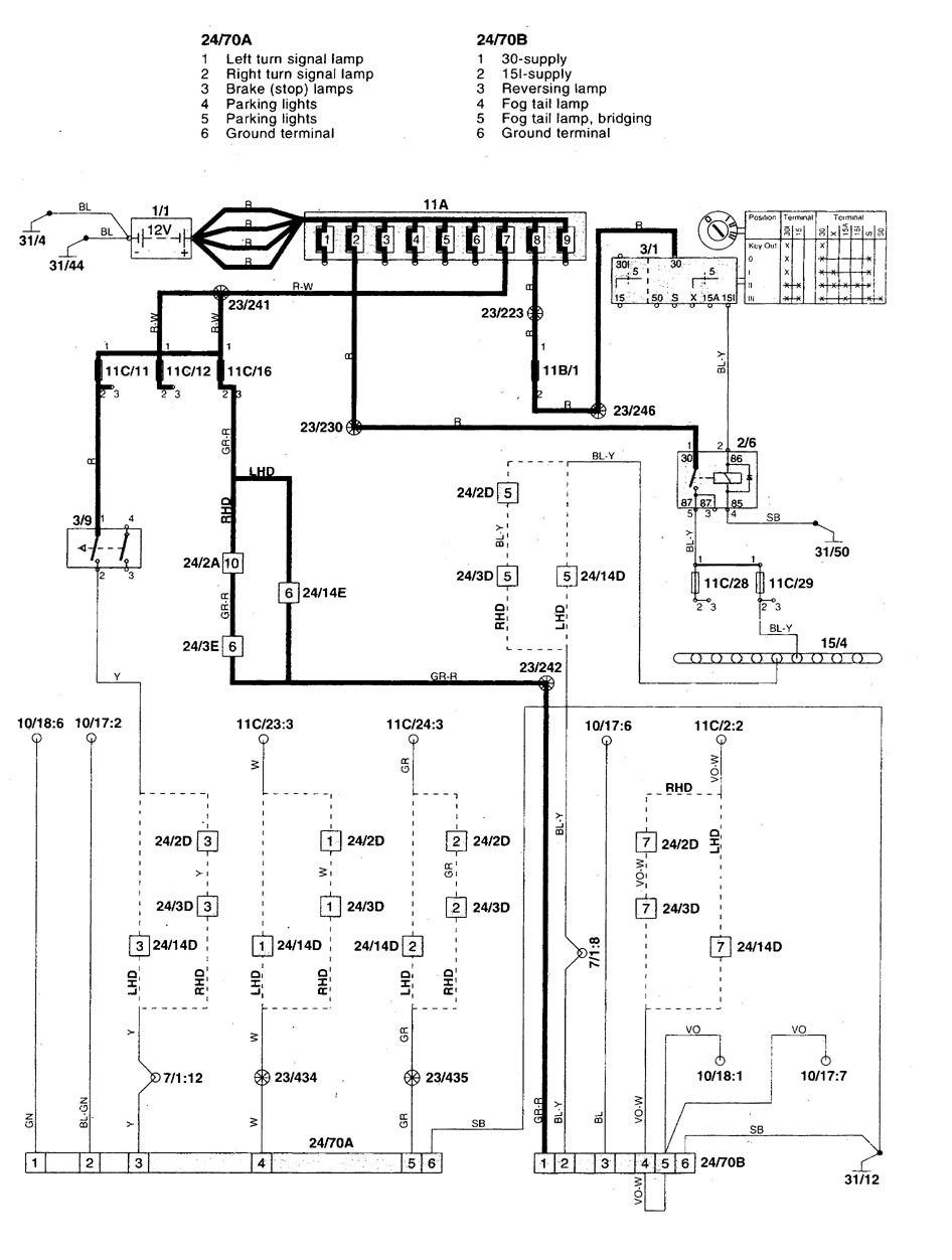 Volvo V70 (1998 - 1999) - wiring diagrams - trailer/camper adapter -  Carknowledge.info | Volvo Trailer Wiring Diagram |  | Carknowledge.info