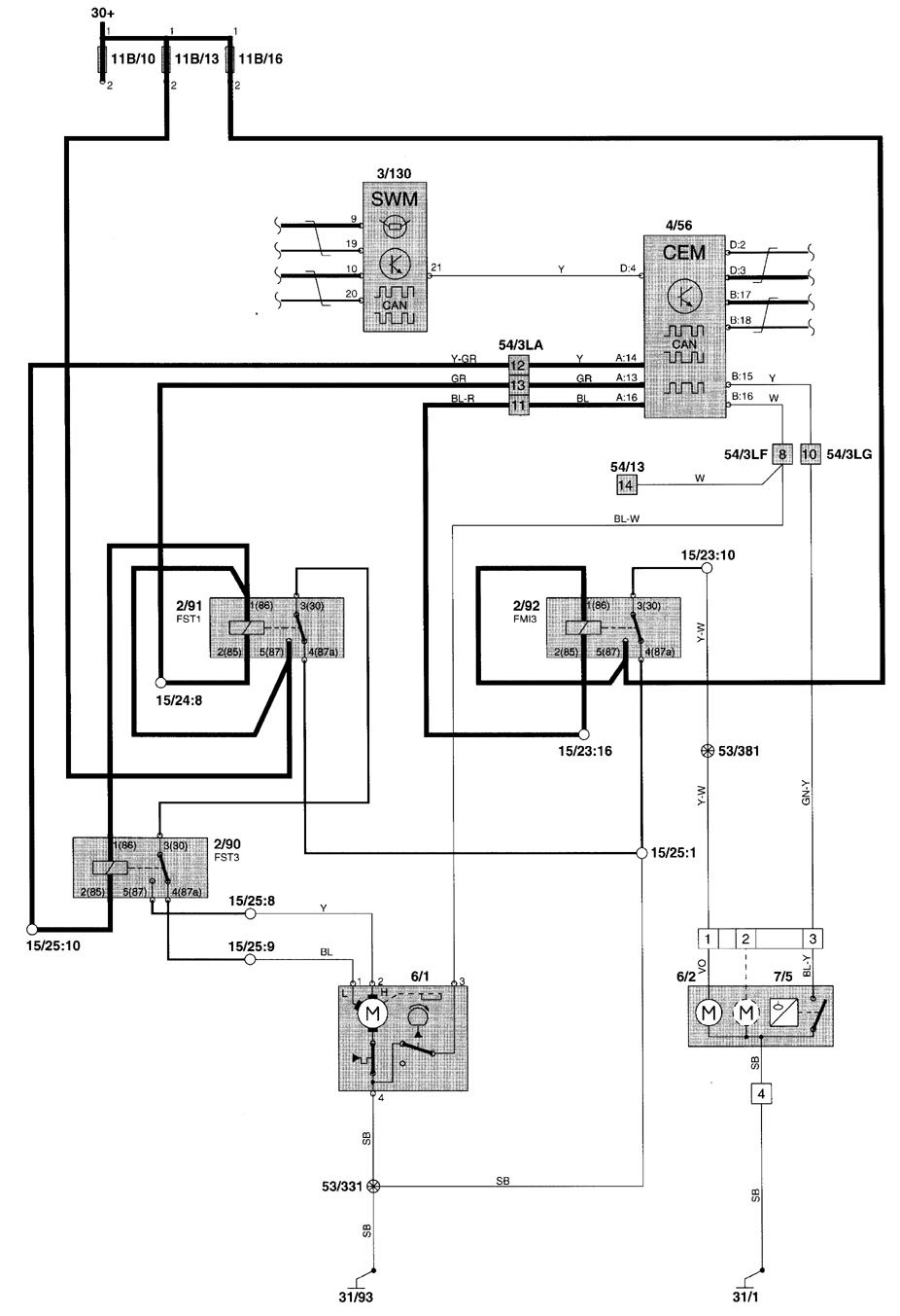 volvo v70  2001 - 2002  - wiring diagrams  washer