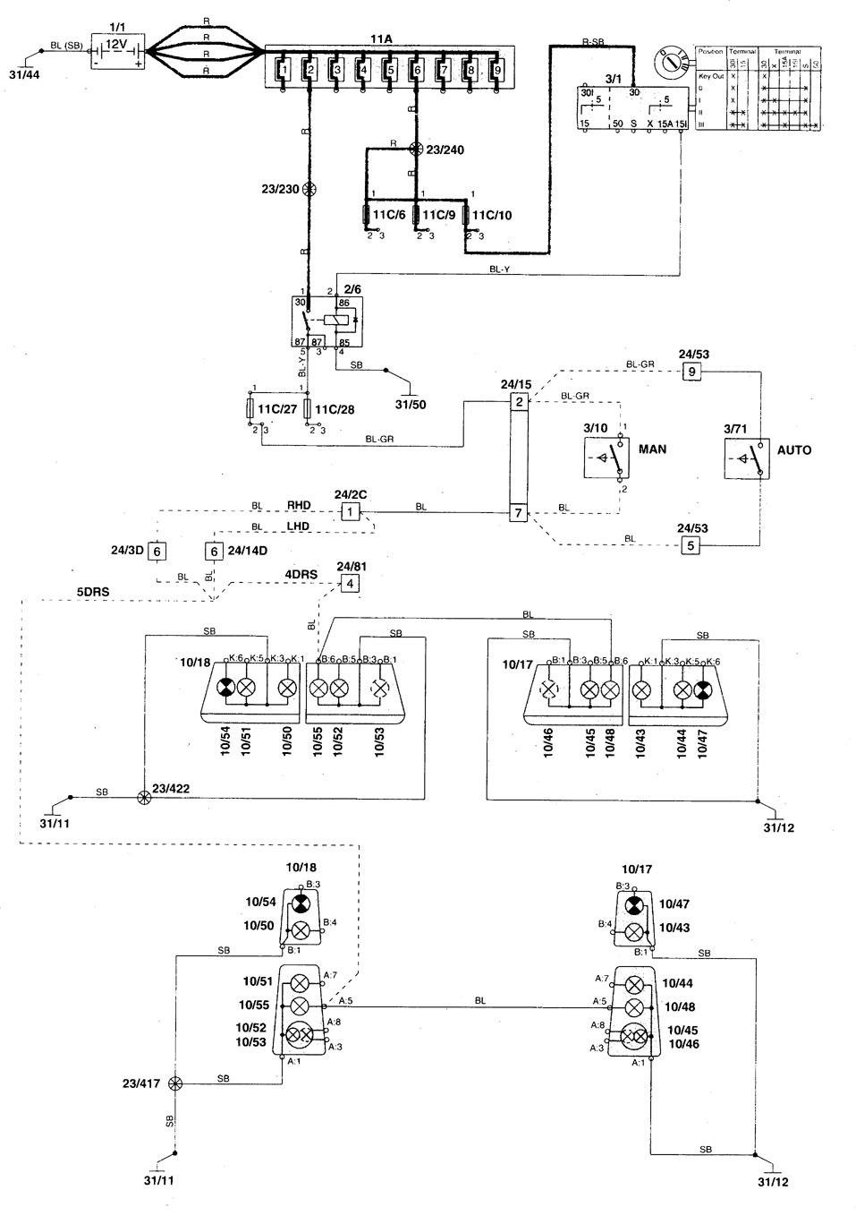 1998 volvo s70 wiring diagram component identification volvo c70 (1998) - wiring diagrams - reverse lamp ... #7