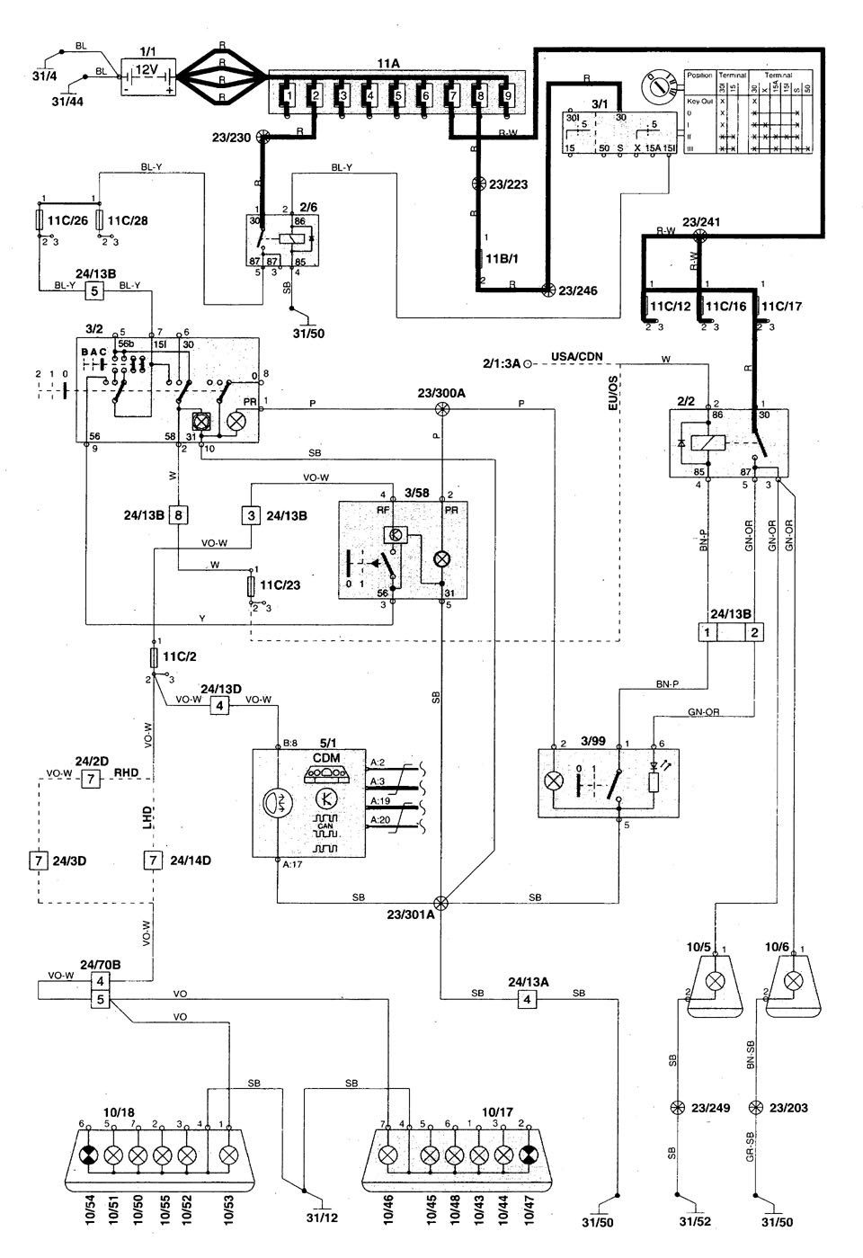 Volvo S70 (1998 - 2000) - wiring diagrams - fog lamps - Carknowledge.info | Volvo Fog Lights Wiring Diagram |  | Carknowledge.info