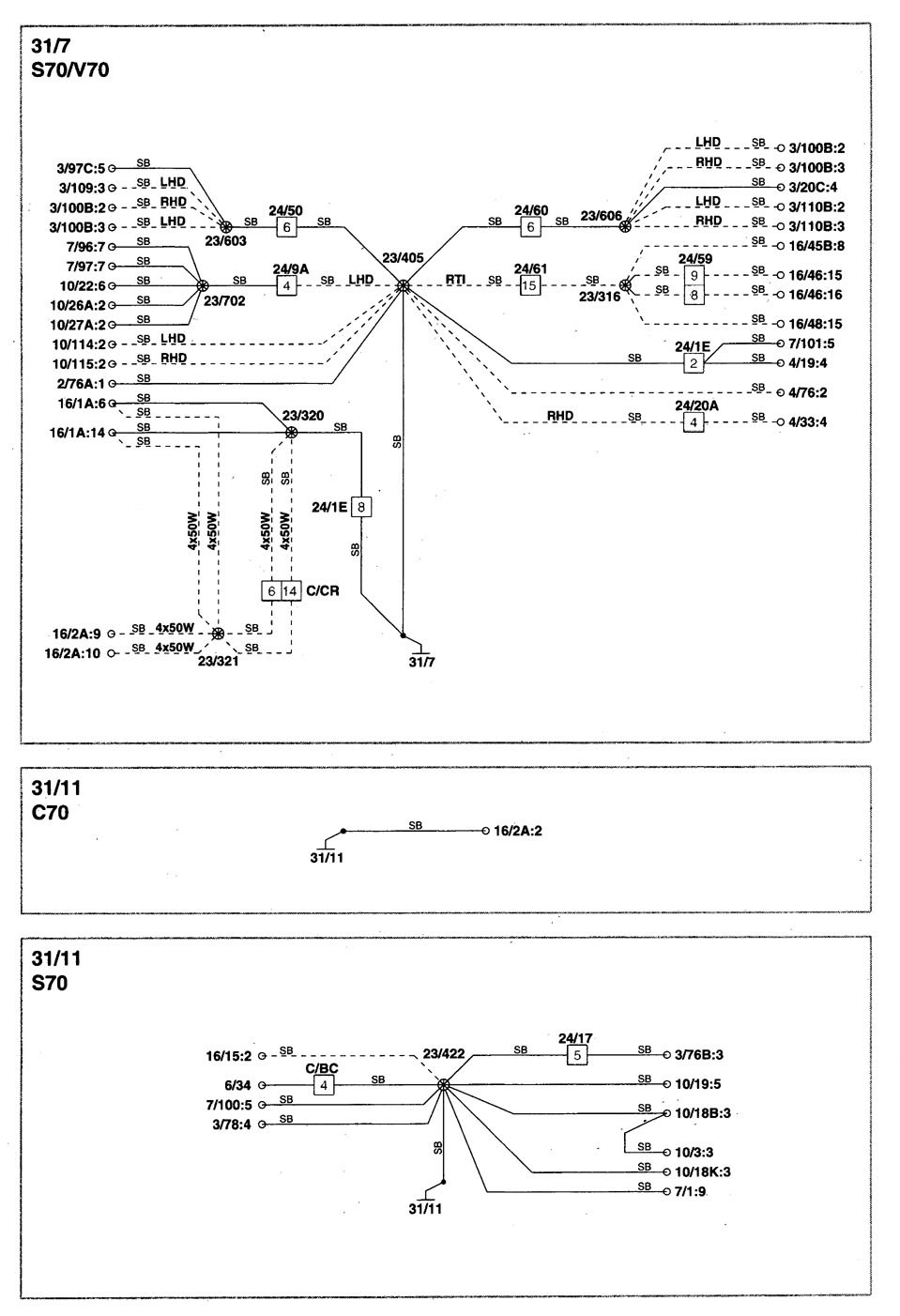 Volvo S70 1998 2000 Wiring Diagrams Ground Distribution Carknowledge Info