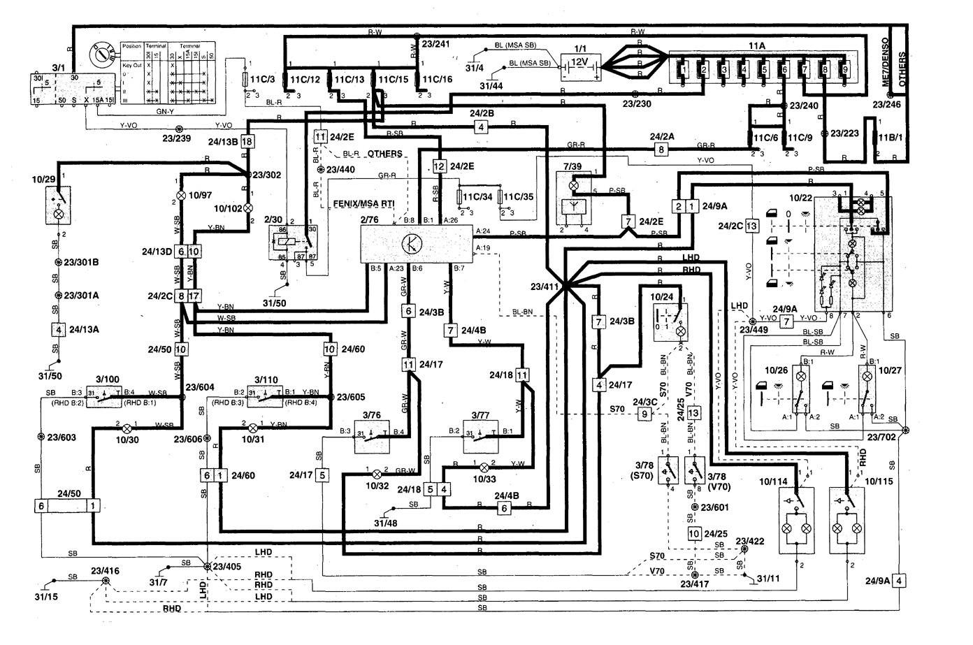 Volvo S70 (1998 - 2000) - wiring diagrams - interior lighting -  Carknowledge.info | Volvo S70 Wiring Diagram |  | Carknowledge.info