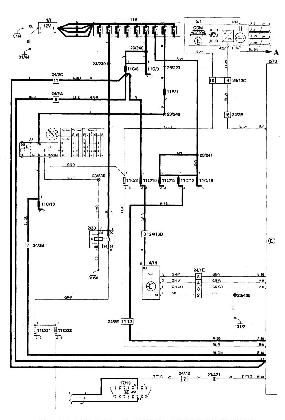 volvo c70  1998 2000  wiring diagrams power locks 1998 Volvo S70 Wiring-Diagram 2000 volvo s70 radio wiring diagram