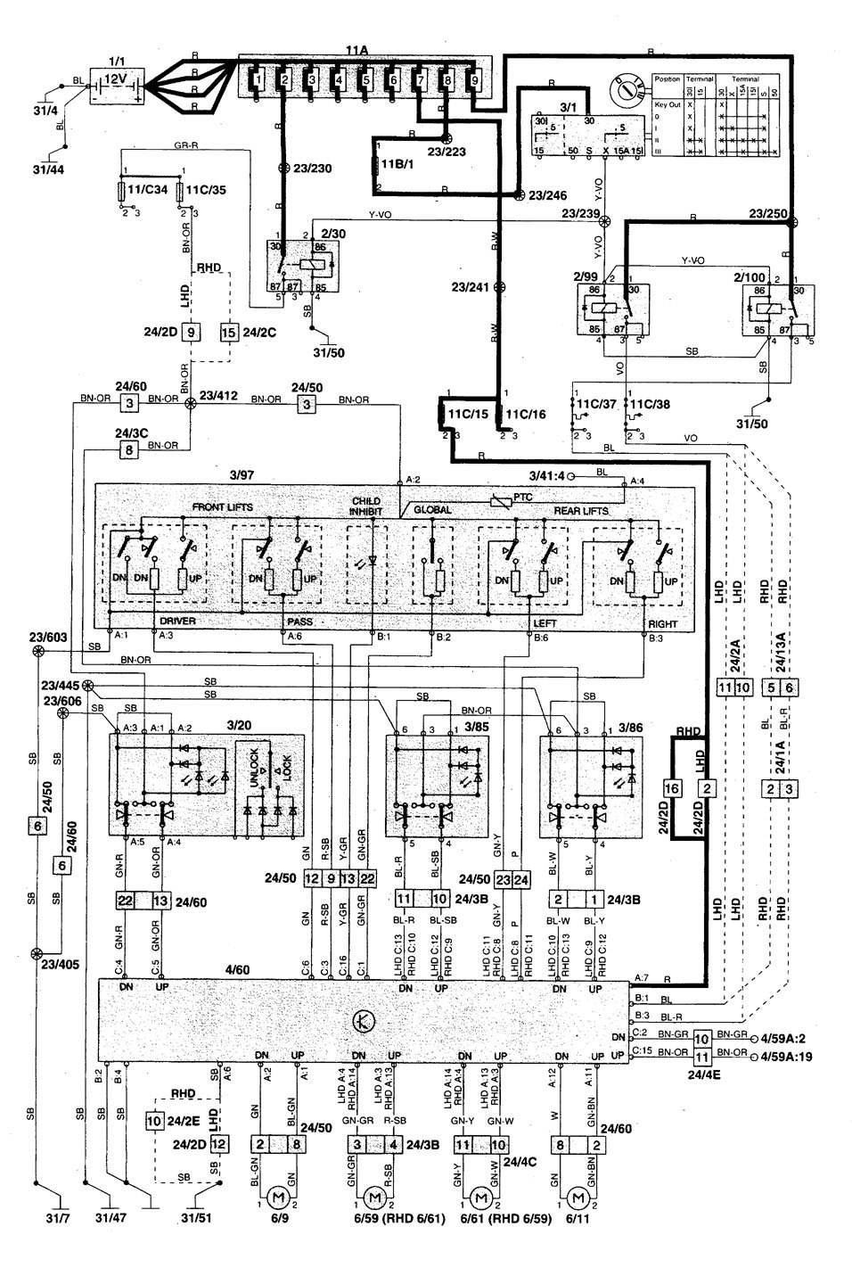 Volvo S70  1998 - 2000  - Wiring Diagrams - Power Windows