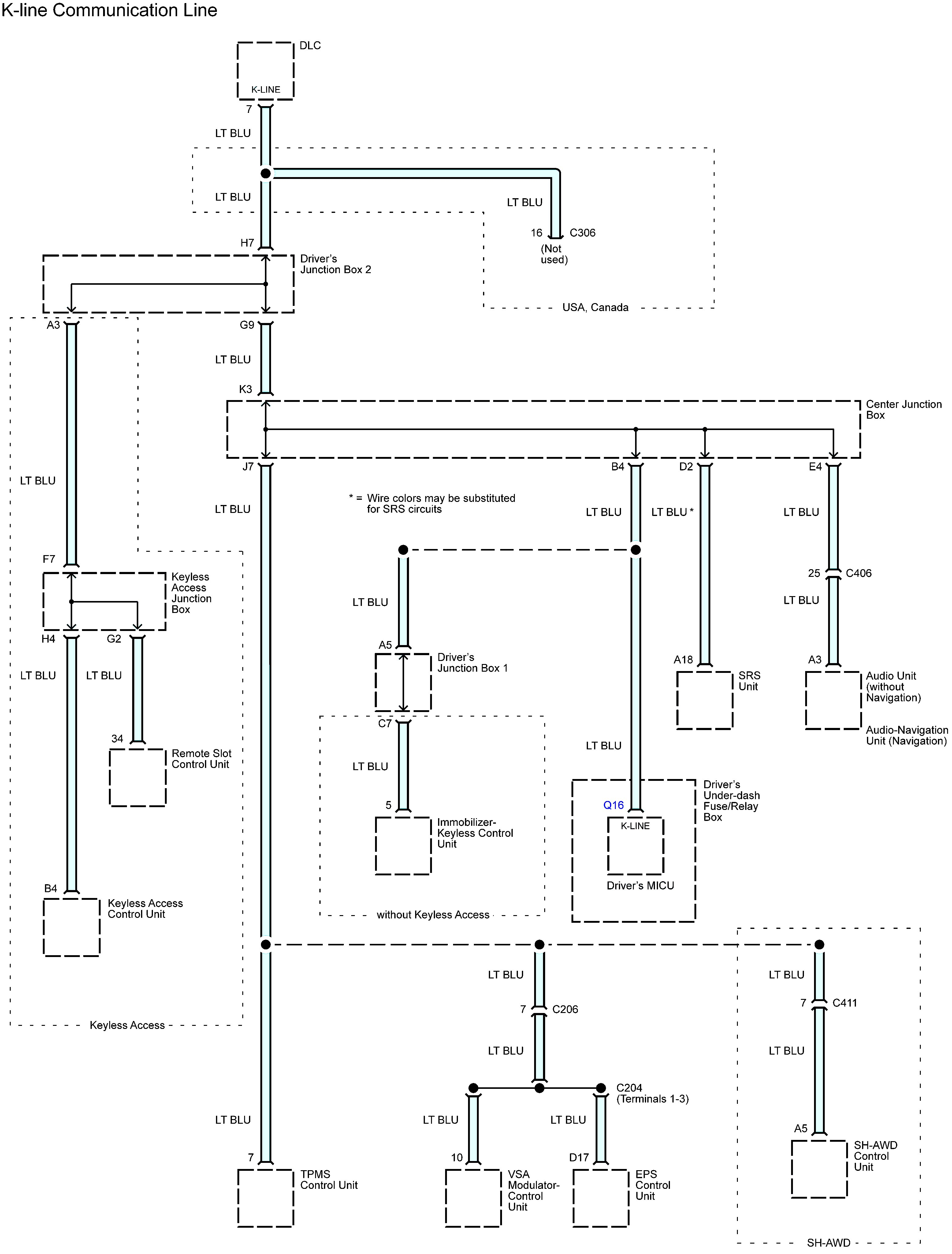 Acura Tl  2013 - 2014  - Wiring Diagrams - Computer Data Lines