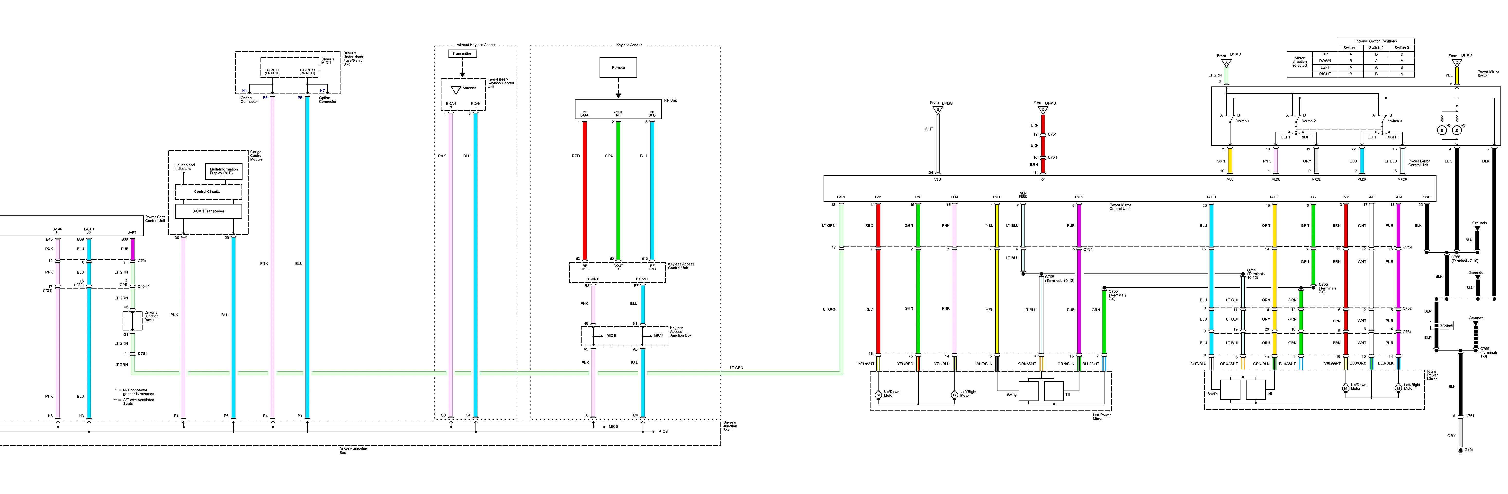 Acura TL 2013 2014 wiring diagrams power seats