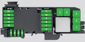 Skoda Fabia - fuse box  diagram - engine compartment