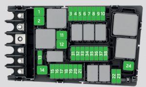 Skoda Octavia - fuse box diagram - engine compartment