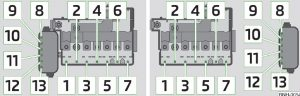 Skoda Rapid - fuse box diagram - engine compartment (version 1/version 2)