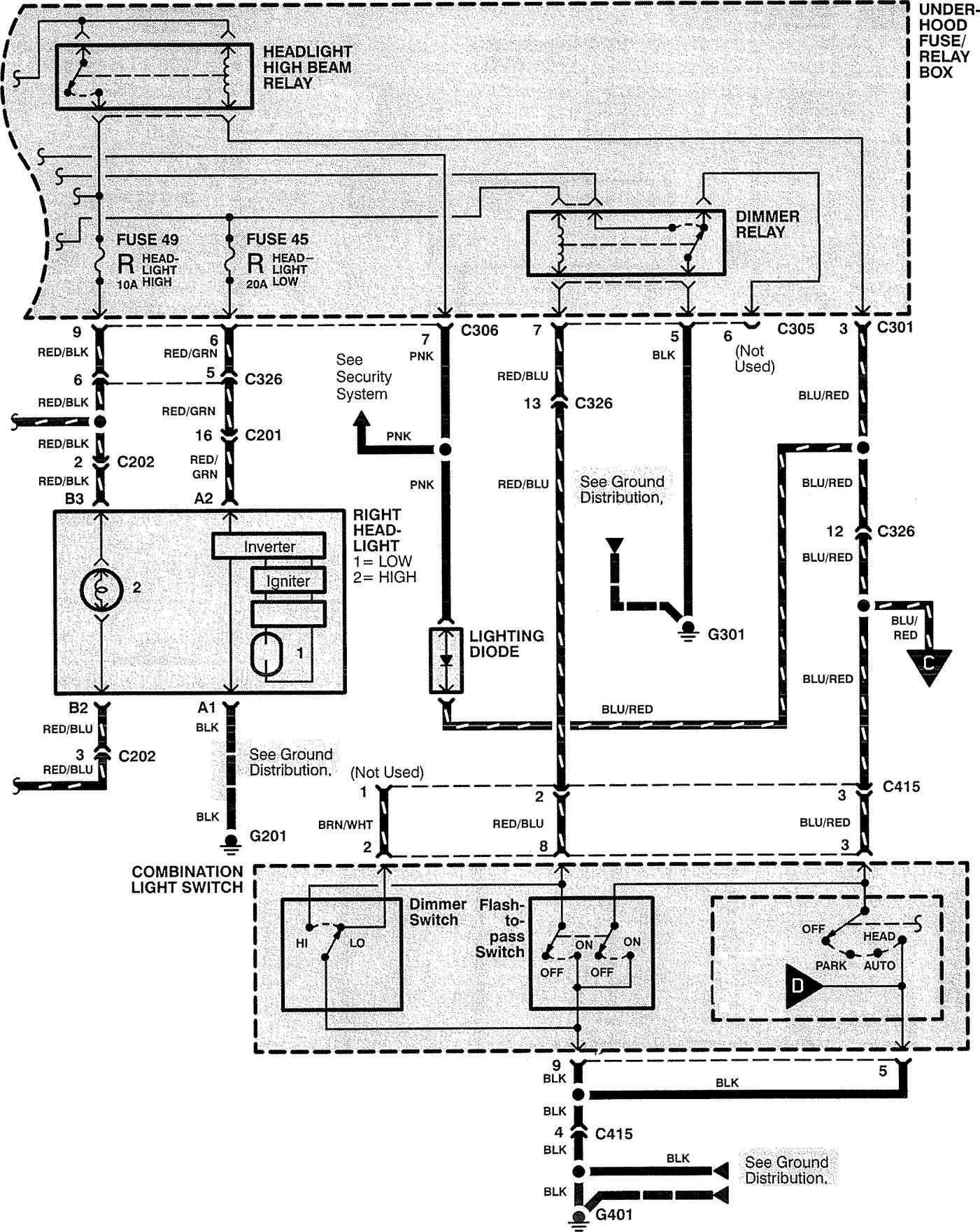 acura rl (1999) - wiring diagrams - headlamps - carknowledge 2004 acura rl wiring diagram 1999 acura rl wiring diagram