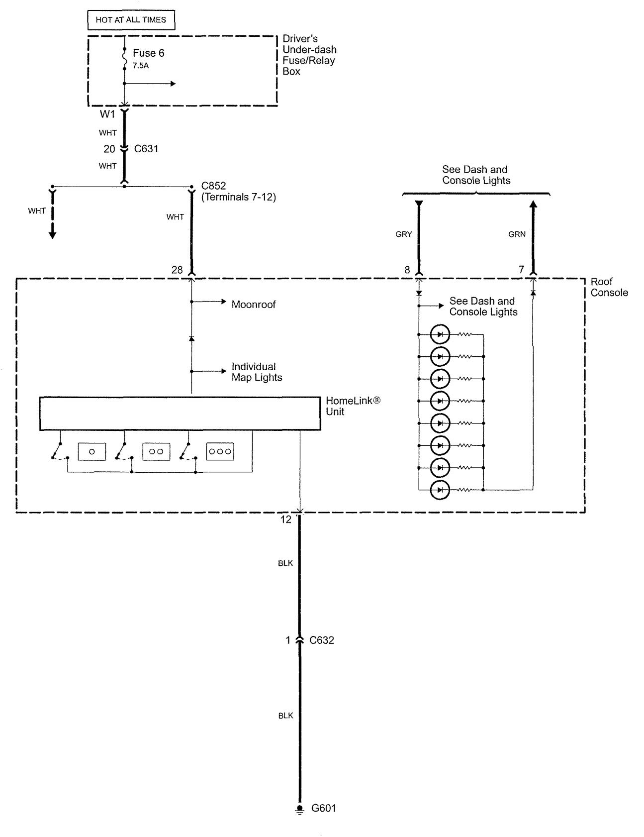 Acura Rl 2006 2007 Wiring Diagrams Home Link Carknowledge Homelink Diagram
