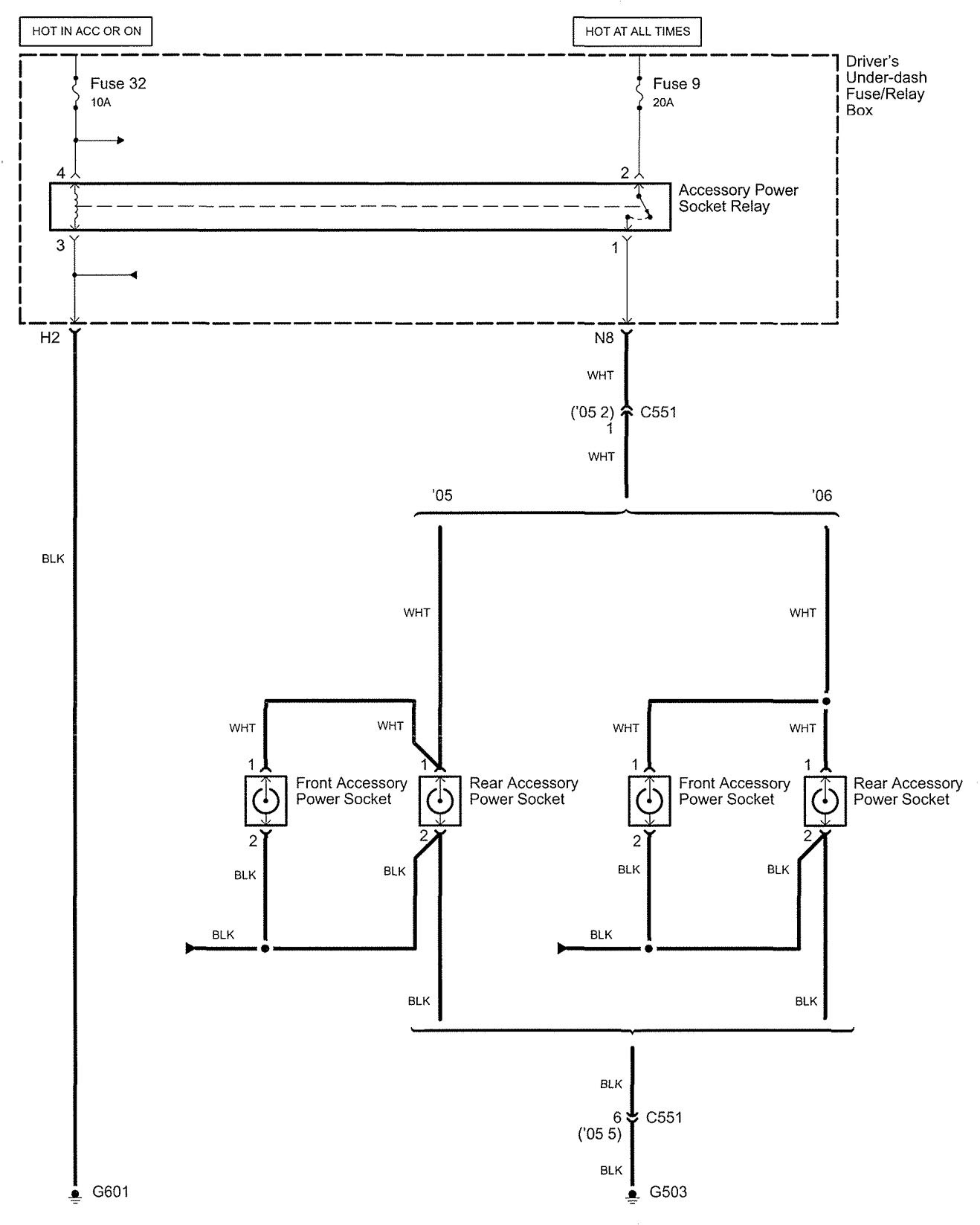 2005 Acura Rl Wiring Diagram Schematics Cadillac Deville Diagrams Power Auxiliary Outlet