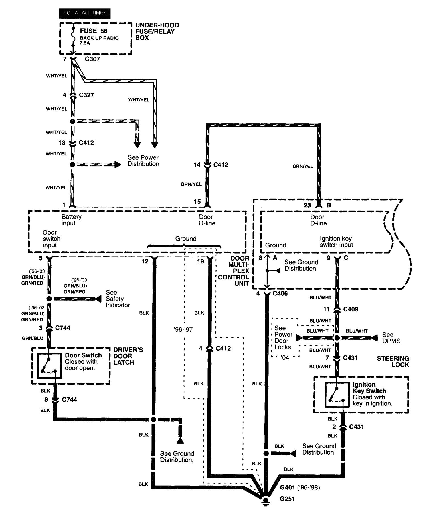 [SCHEMATICS_4ER]  Acura RL (2003 - 2004) - wiring diagrams - seat belt warning -  Carknowledge.info | Wiring Diagram Seat Belt Reminder |  | Carknowledge.info