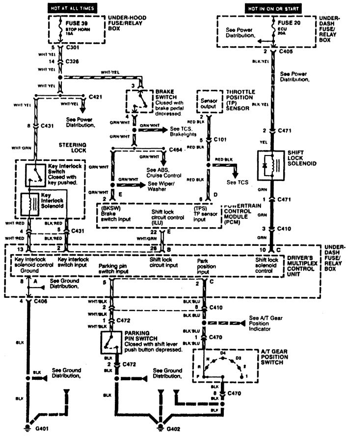 acura rl 1996 1999 wiring diagrams shift interlock carknowledge. Black Bedroom Furniture Sets. Home Design Ideas