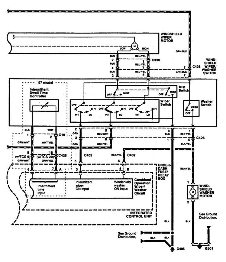 acura rl wiring diagram wiper washer v1 2 1996 acura rl (1996 1998) wiring diagrams wiper washer carknowledge GM Wiper Motor Wiring Diagram at gsmx.co