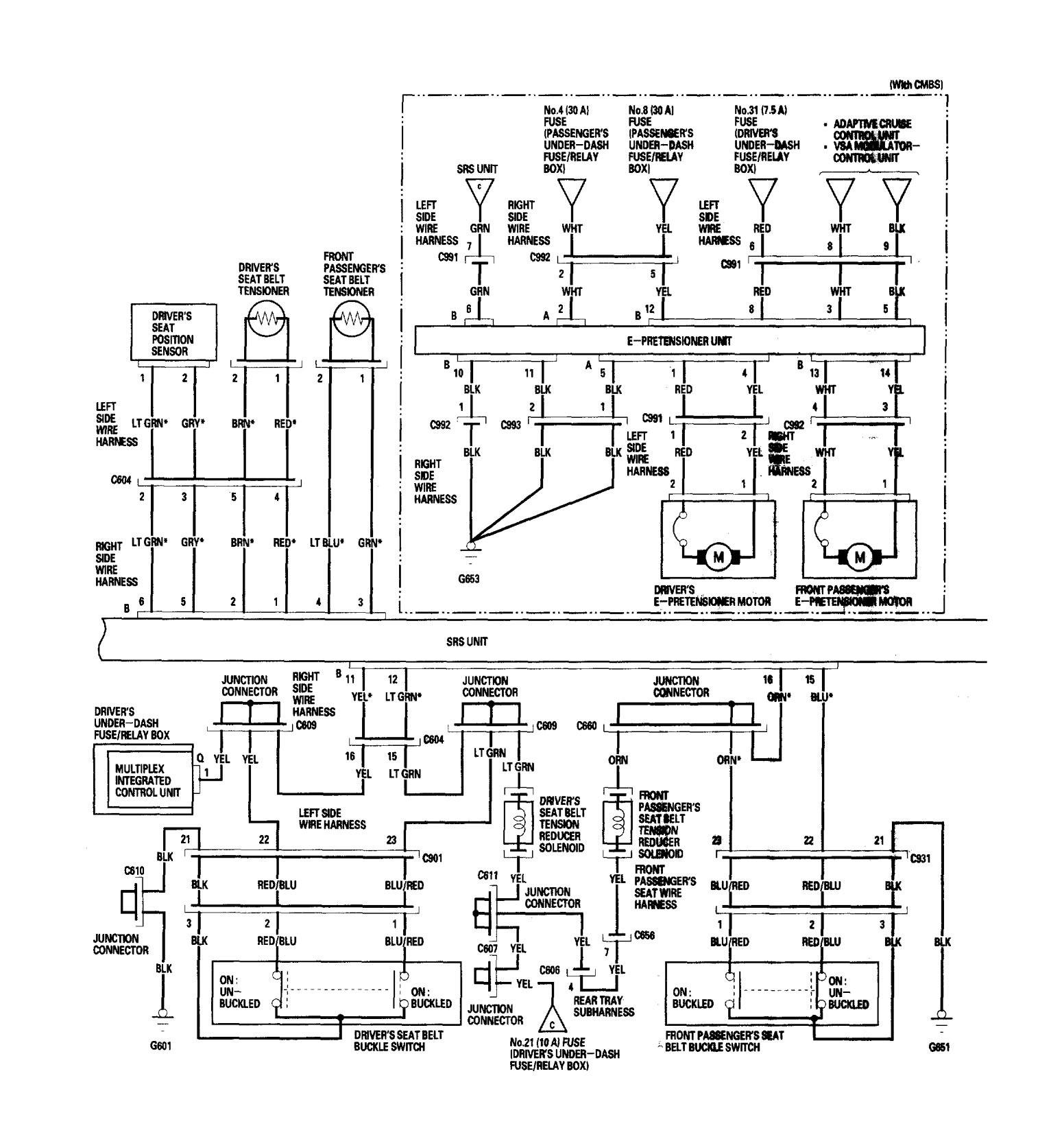 acura rl  2006  - wiring diagrams - air bags