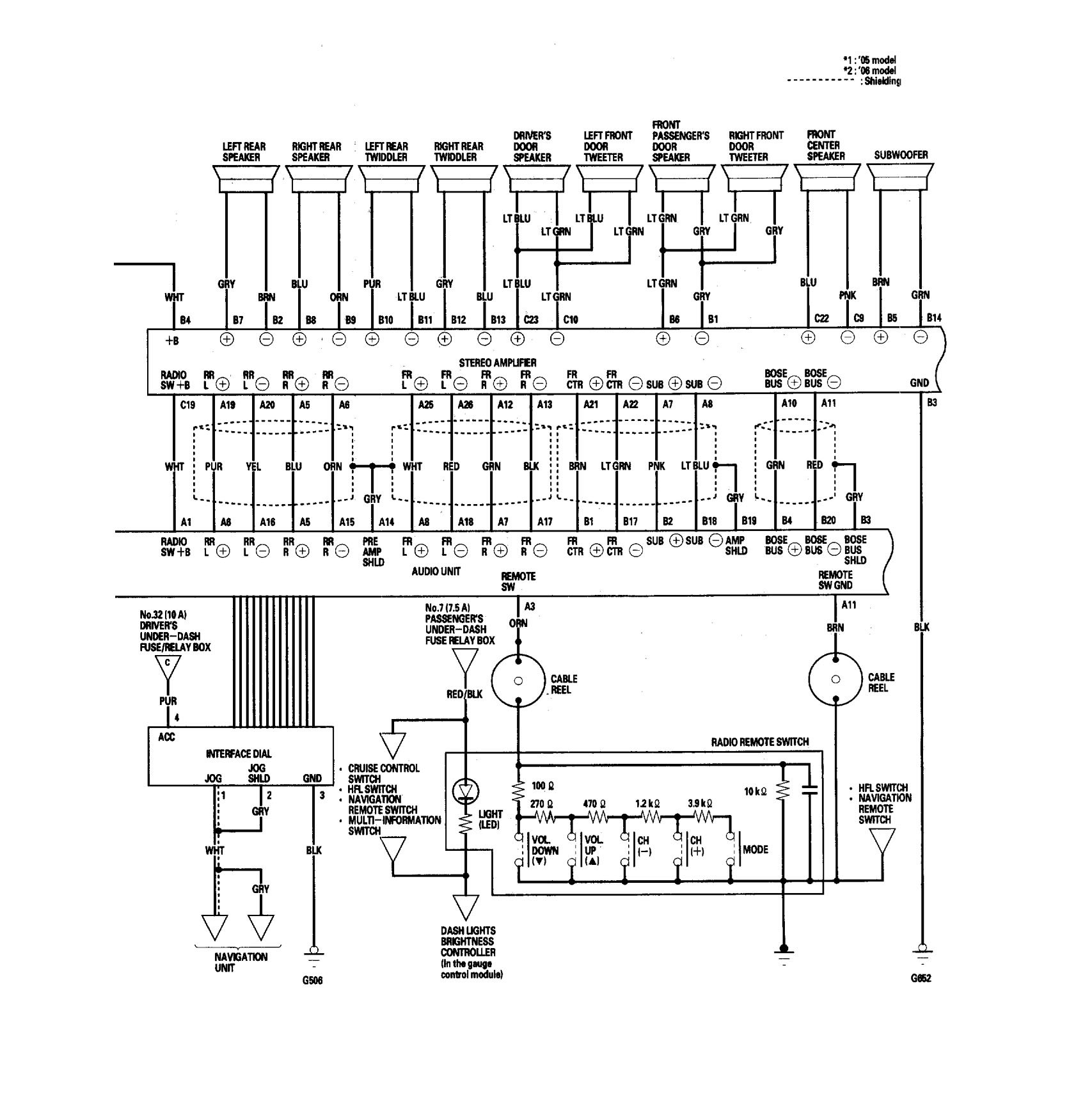 acura rl  2006  - wiring diagrams - audio