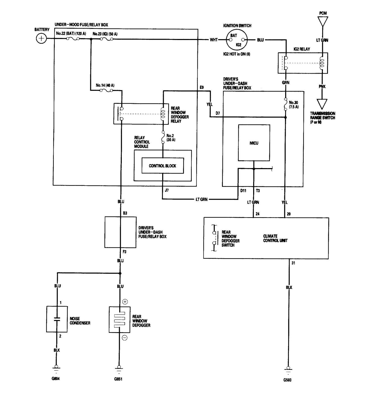 acura rl  2006  - wiring diagrams - rear window defogger