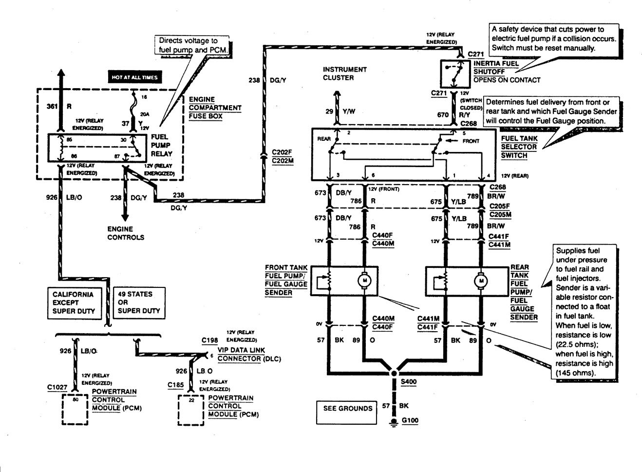 ford f53  1997  - wiring diagrams - fuel tank