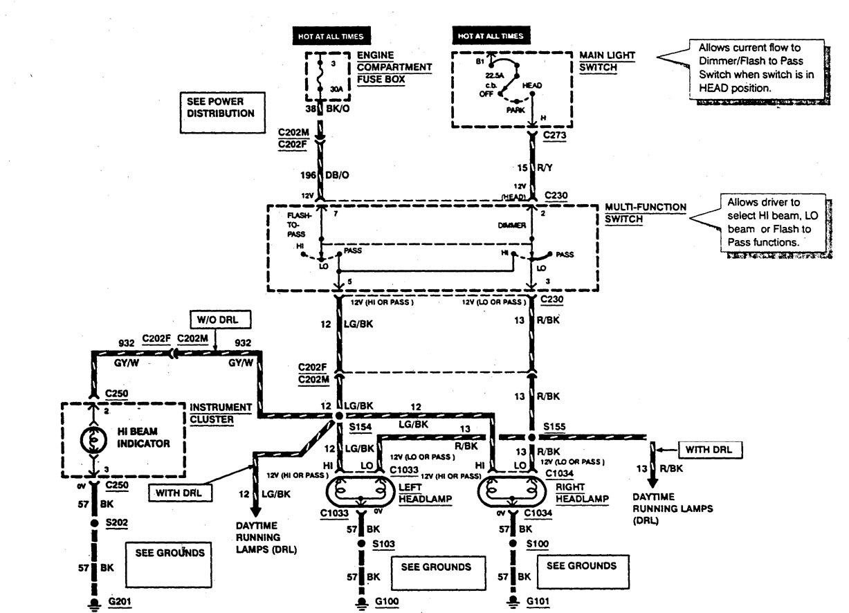 Ford F53 (1997) - wiring diagrams - headlamps ...