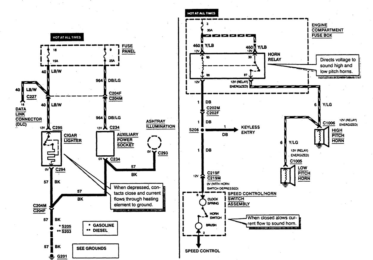 ford f53  1997  - wiring diagrams - horn