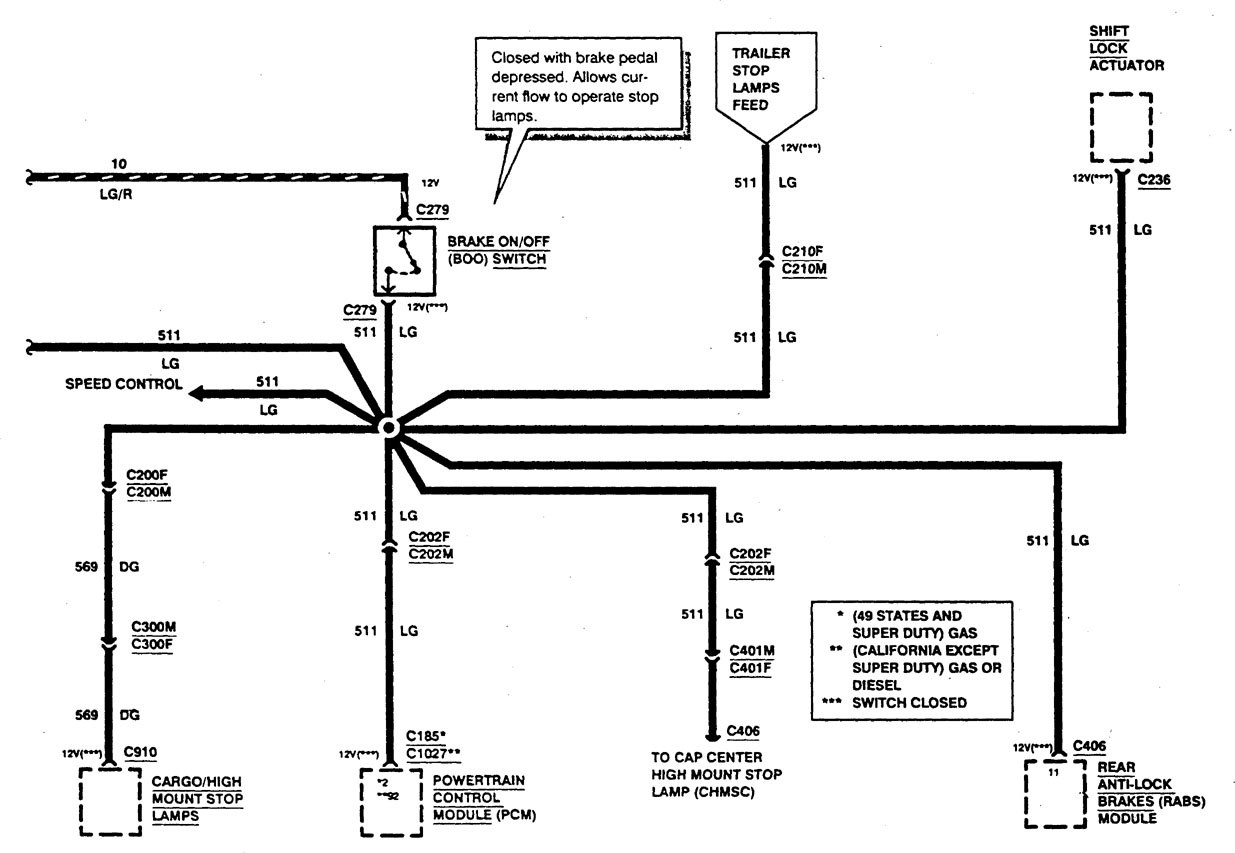 ford f53  1997  - wiring diagrams - stop lamp