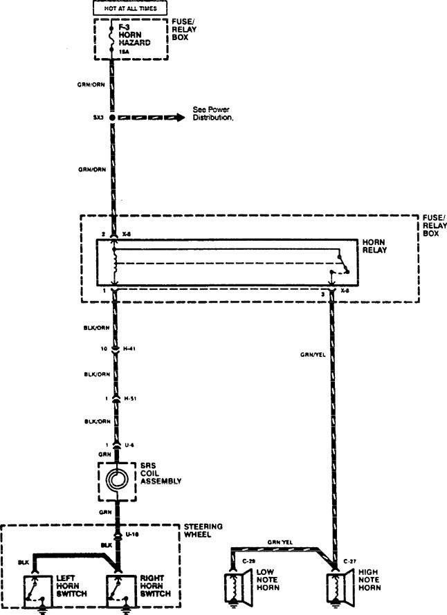 Acura Slx  1996  - Wiring Diagrams - Horn