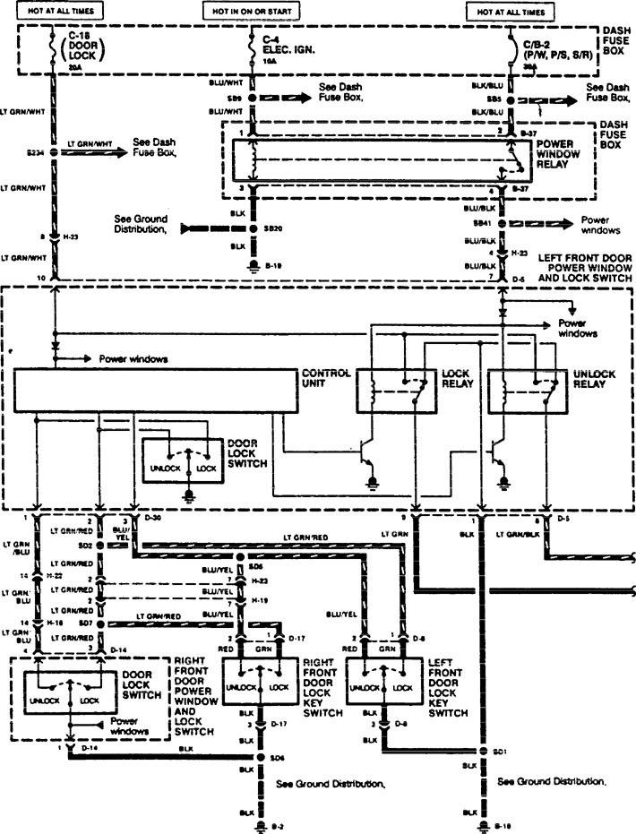 acura slx  1996  - wiring diagrams - power locks