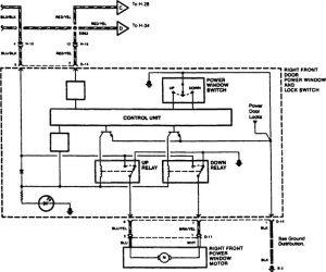Acura SLX - wiring diagram - power windows (part 2)