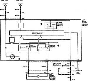 Acura SLX - wiring diagram - power windows (part 3)