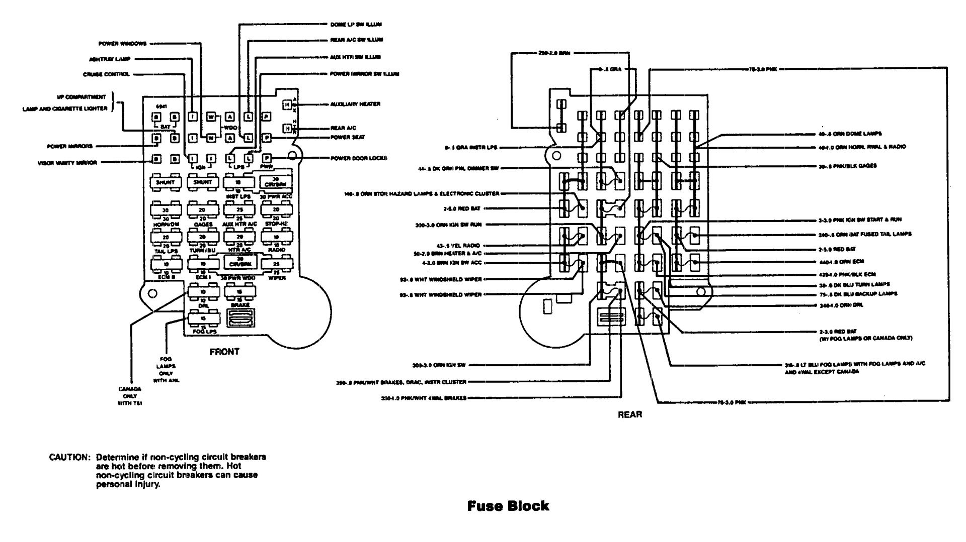 chevrolet astro  1991  - wiring diagrams - fuse box