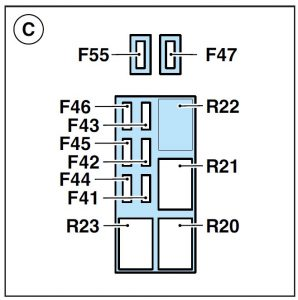 Ferrari Enzo - wiring diagram - fuse box -  engine compartment (box C)