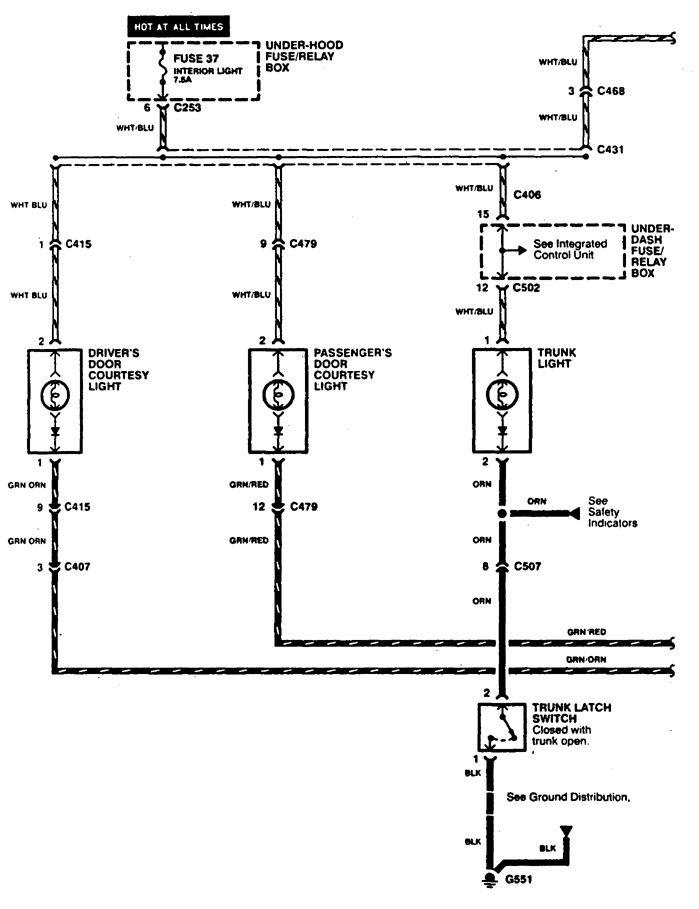 acura cl  1997  - wiring diagrams - door lamp
