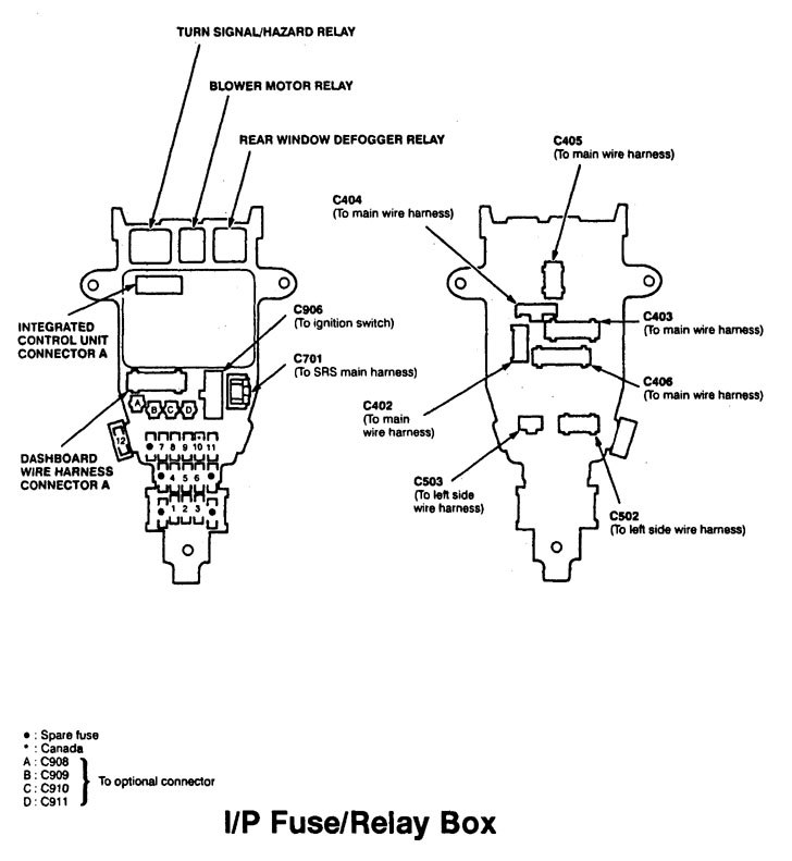 Acura Cl  1997 - 1999  - Wiring Diagrams - Fuse Panel
