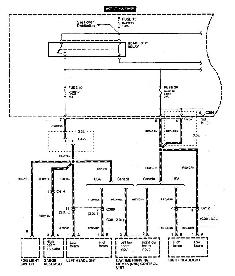 [SCHEMATICS_4CA]  Acura CL (1998 - 1999) - wiring diagrams - headlamp switch -  Carknowledge.info   98 Acura Cl Wiring Diagram      Carknowledge.info