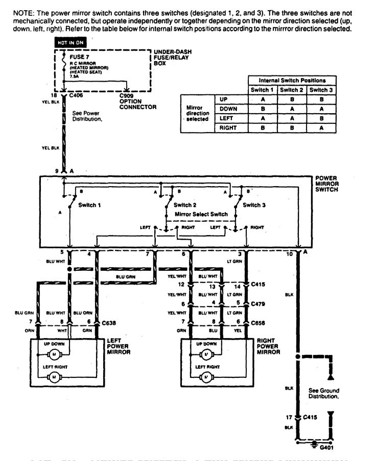 Acura CL (1997 - 1999) - wiring diagrams - power mirrors ...