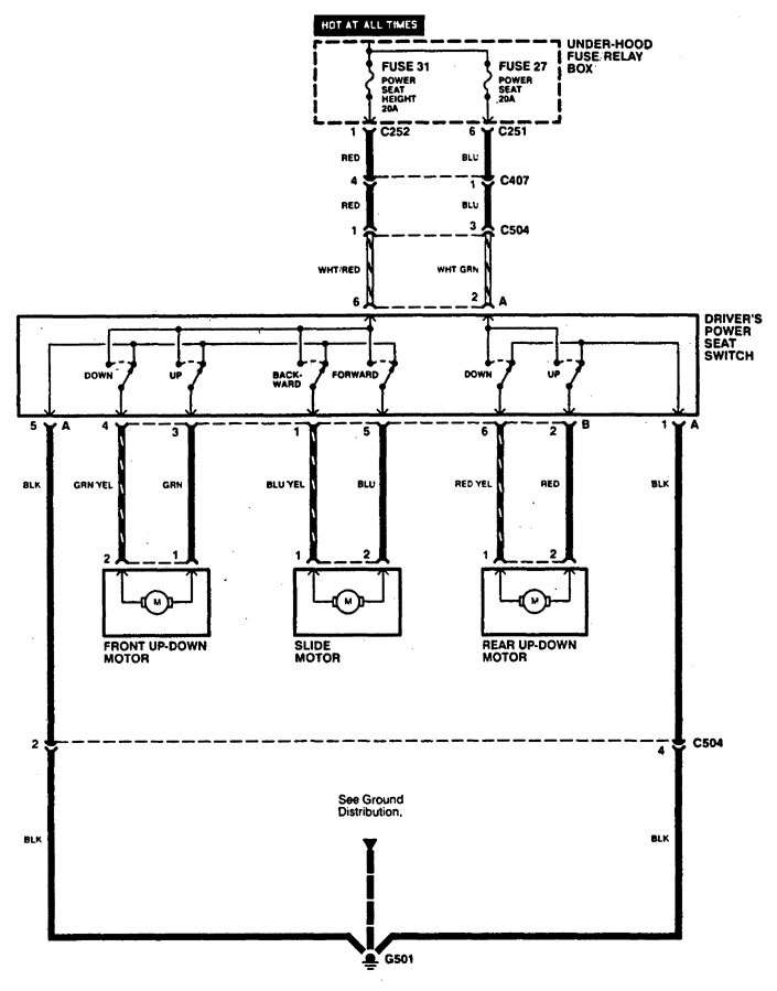 acura cl (1997 - 1999) - wiring diagrams - power seat - carknowledge.info  carknowledge.info