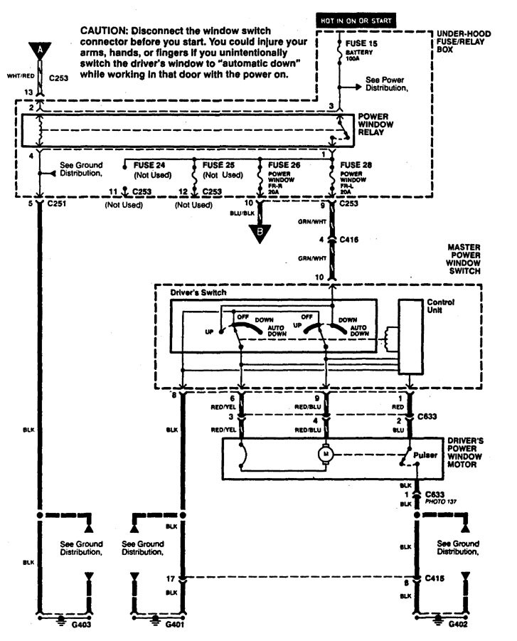 Acura CL 1997 1999 wiring diagrams power windows