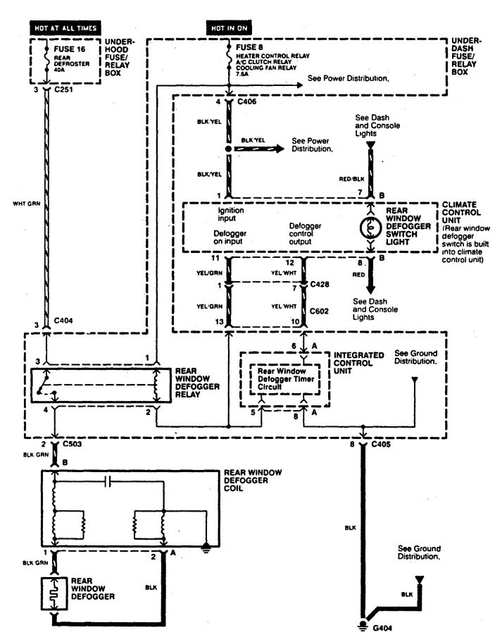 acura cl (1997 – 1999) – wiring diagrams – rear window defogger, Wiring diagram