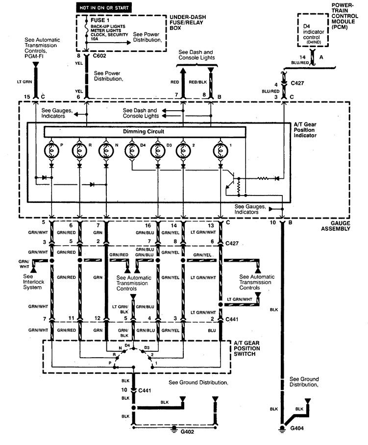 Wiring Diagram Indicator : Acura cl  wiring diagrams shift indicator