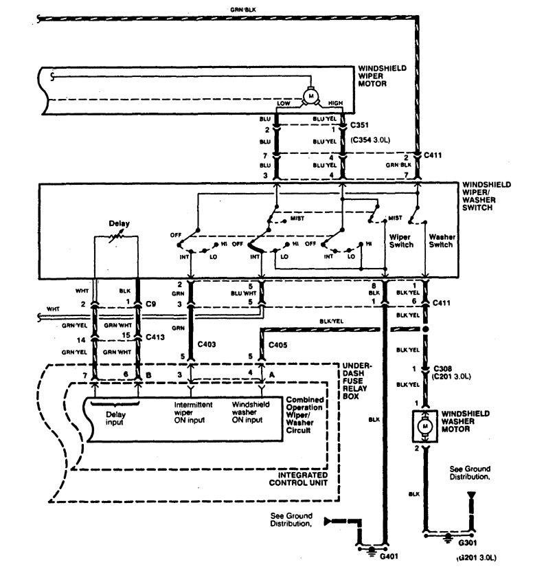 Acura Cl  1997 - 1999  - Wiring Diagrams  Washer
