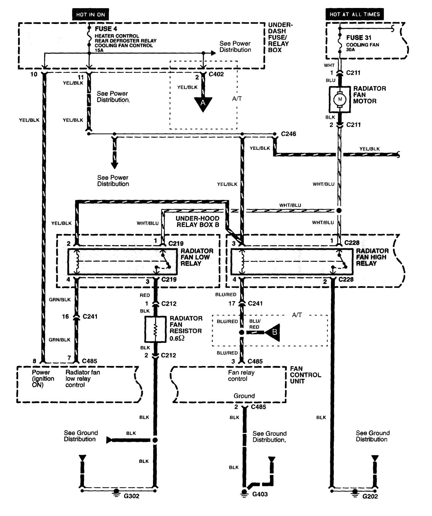 Acura NSX (1997 - 2005) - wiring diagrams - cooling fans ... on