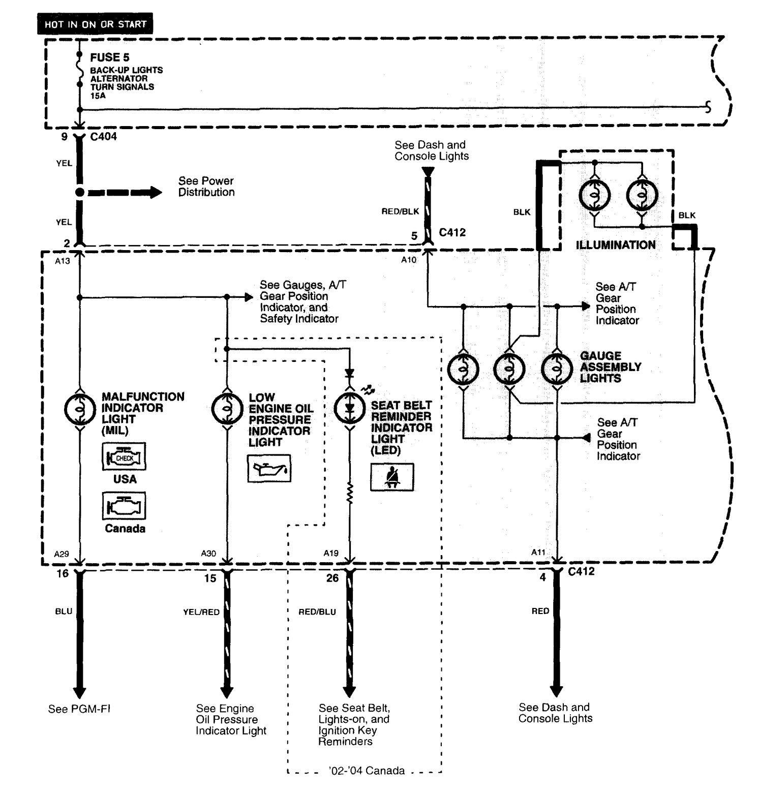 Acura Nsx 1997 2005 Wiring Diagrams Indicator Lamp Diagram