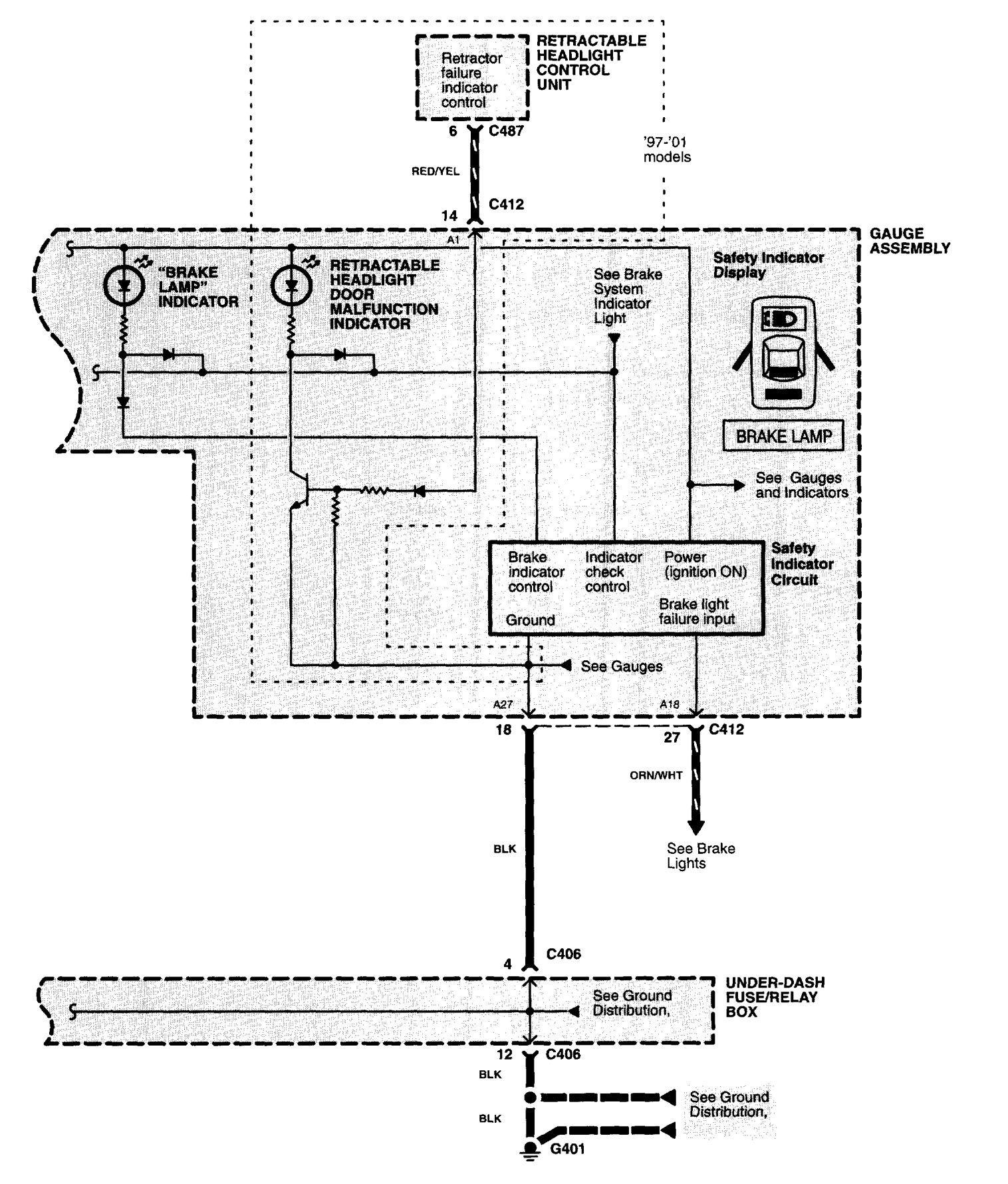 Acura Nsx 1997 2004 Wiring Diagrams Warning Indicators Dodge Caravan Tail Light Diagram