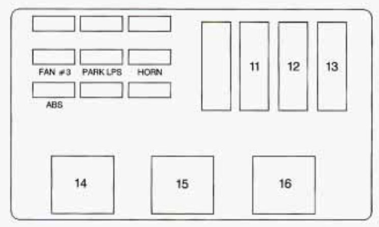Chevrolet Monte Carlo  1998  U2013 1999   U2013 Fuse Box Diagram
