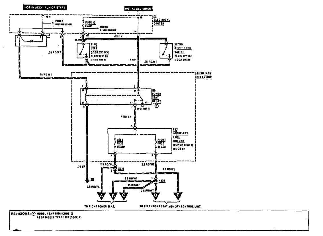 mercedes 190e (1990 – 1991) – wiring diagrams – power seat