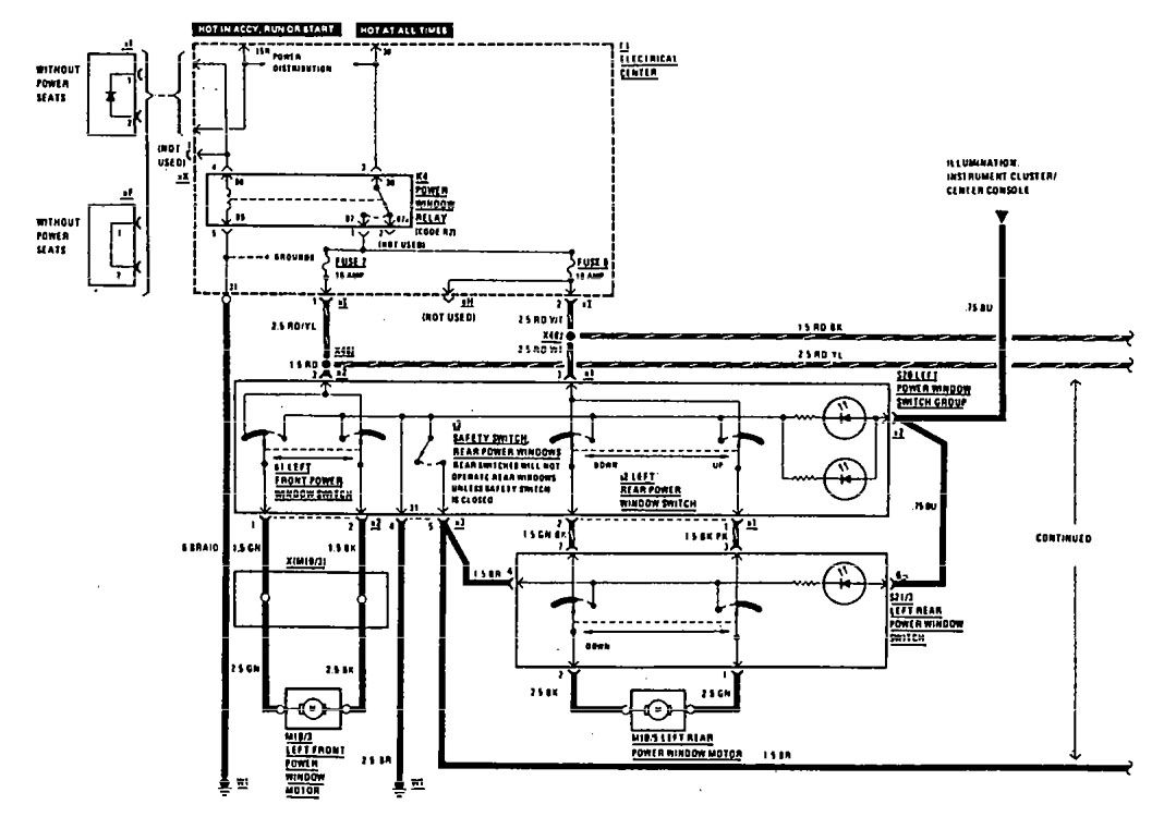 Mercedes 190e 1990 1991 Wiring Diagrams Power Windows Diagram For