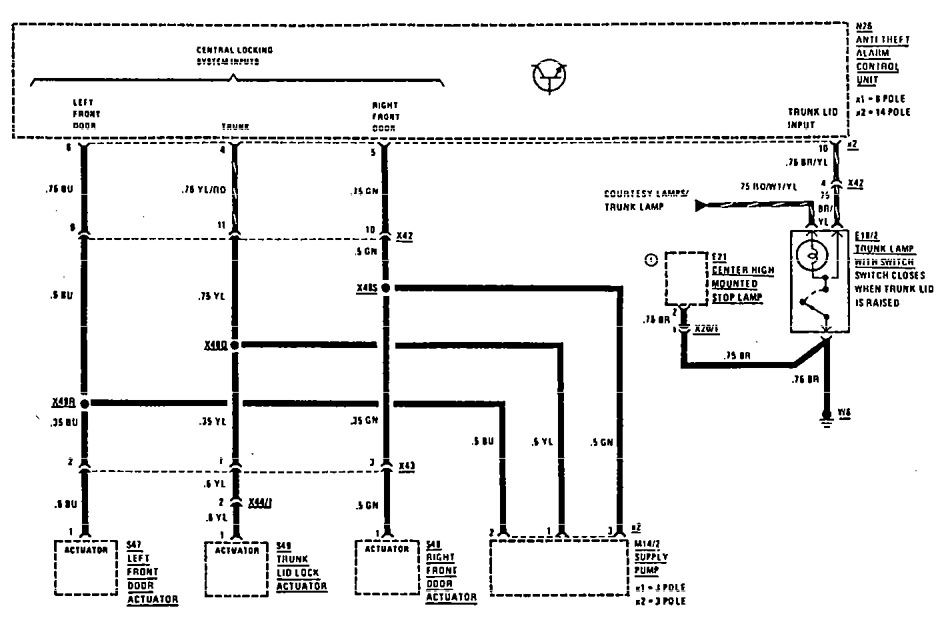 Mercedes Benz 190e 1990 1991 Wiring Diagrams Security Anti Theft Carknowledge Info